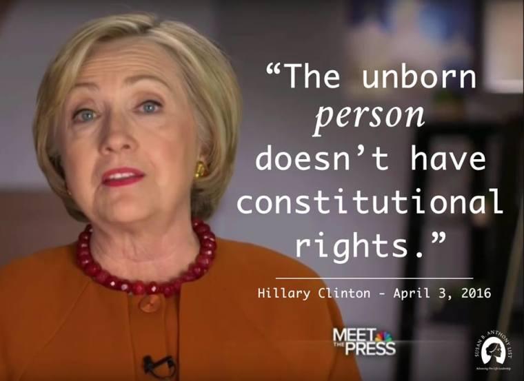 Hillary Clinton, Unborn