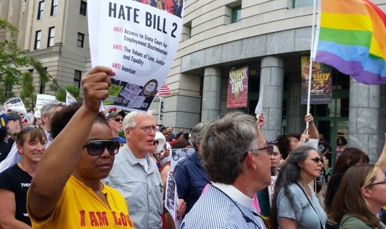 North Carolina HB2 Protesters, Transgender, Bathroom Bill