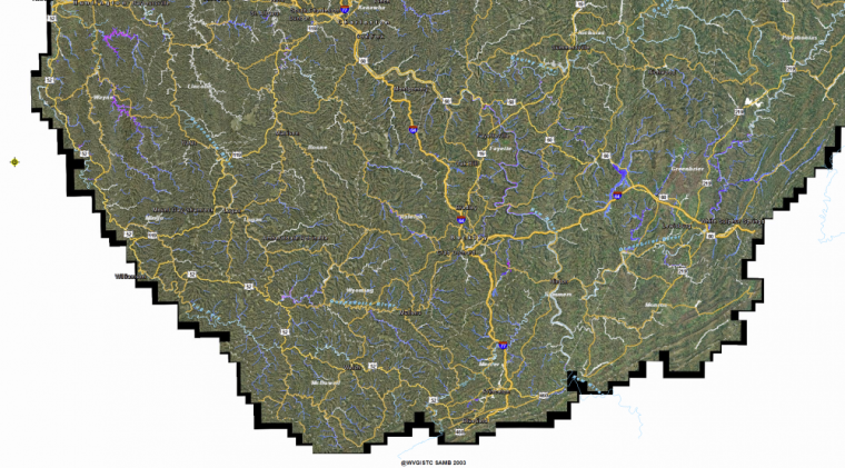 Map of Flooded Areas in West Virginia 2016