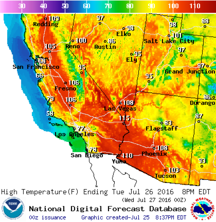 Heat Wave Maps and Weather Forecast for July 2016: Los Angeles, Las