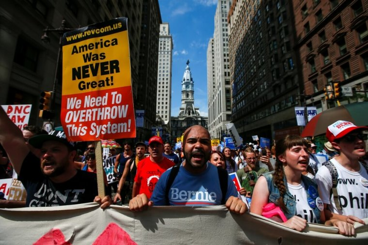protest march ahead of the 2016 Democratic National Convention
