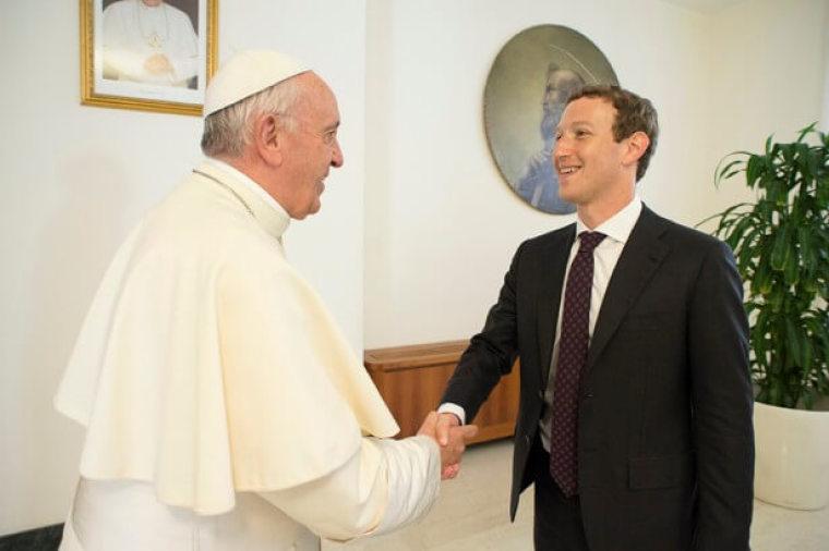 Mark Zuckerberg (right) and Pope francis (left)
