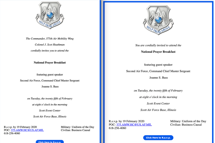 Air Force removes commander's name from prayer breakfast invitation after secular group complains