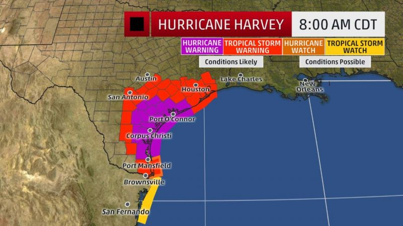From New Orleans Warnings For Texas >> Hurricane Harvey Tracker Projected Path Map Devastating Storm