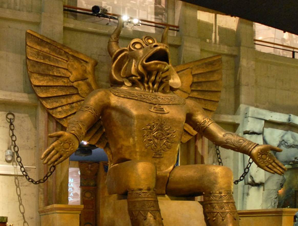 Moloch statue of child sacrifice on display at Colosseum, holy site for Christian martyrs