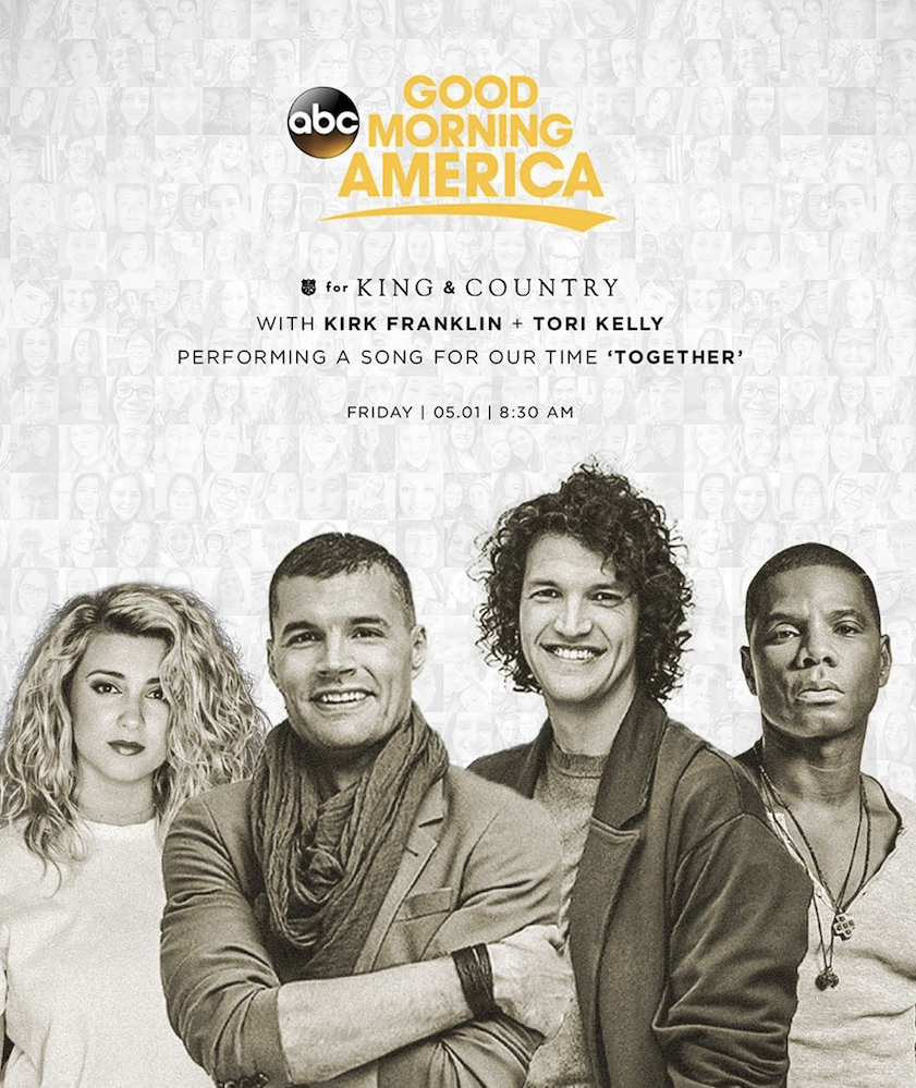 For King & Country, Tori Kelly, Kirk Franklin debut new collaboration on GMA