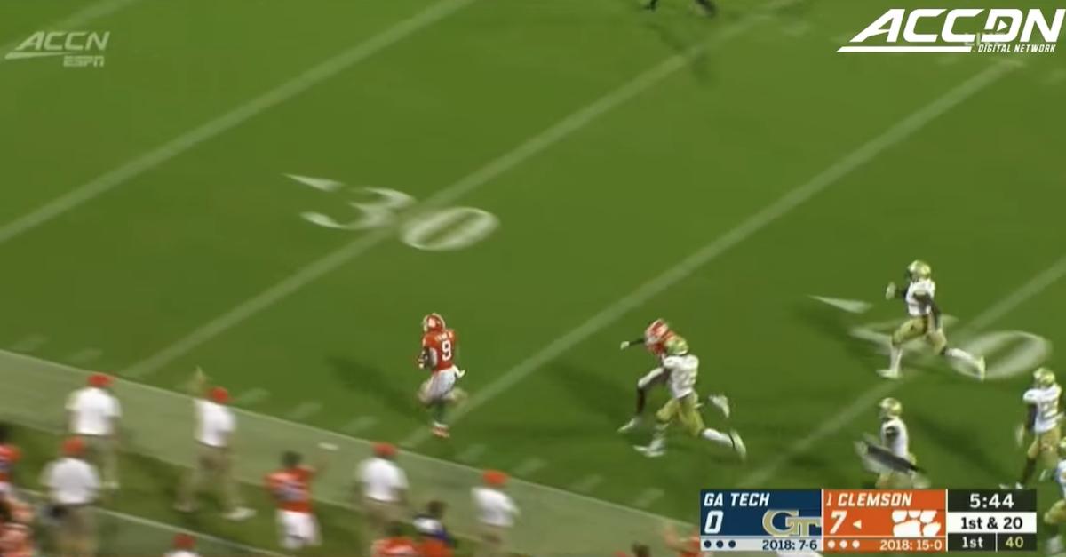 Clemson's Travis Etienne sets FBS touchdown record, thanks God first